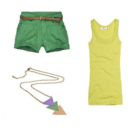Stylizacja letnia zielone szorty