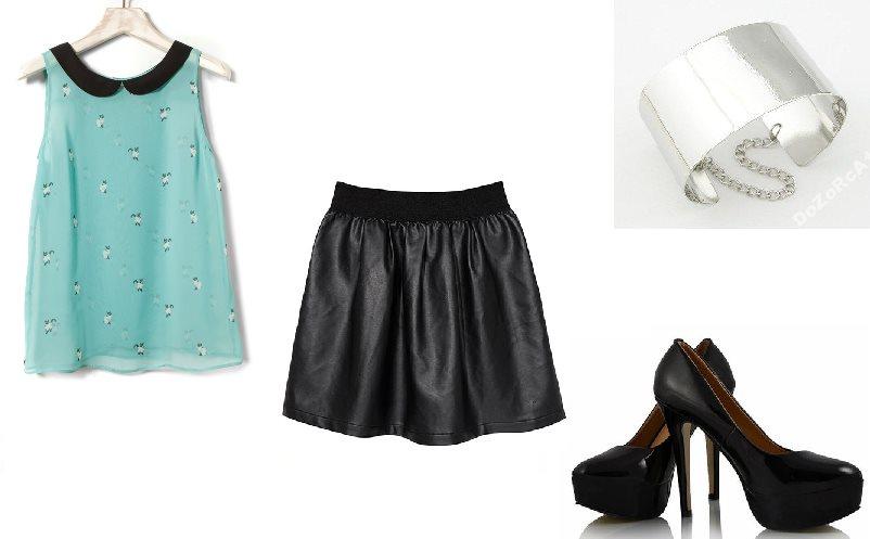 Stylizacja z czarną spódniczką mini