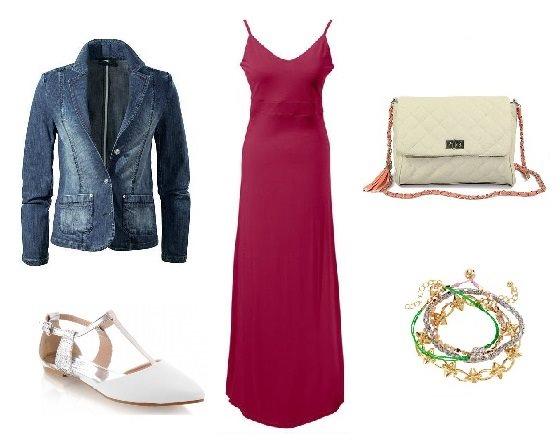 Stylizacja z czerwoną sukienką maxi