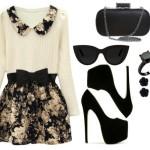 Stylizacja czarne szpilki i sukienka w kwiaty