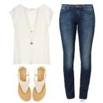Stylizacja jeansy i biała bluzka