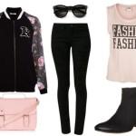 Stylizacja czarno różowa z botkami