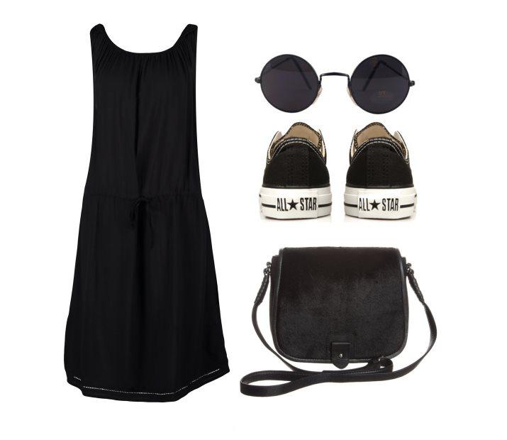 Stylizacja z czarną letnią sukienką