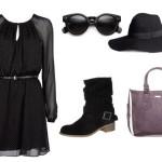 Stylizacja z czarną sukienką Mango