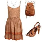 Stylizacja z letnią sukienką brązowa