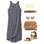 Stylizacja z letnią sukienką w paski