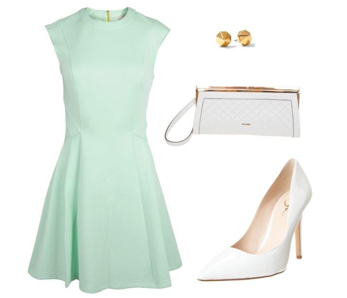 Stylizacja z miętową sukienką