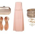 Stylizacja z różową sukienką maxi