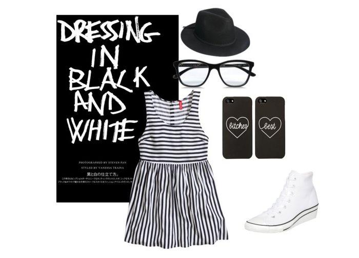 Stylizacja black&white w paski