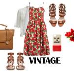 Stylizacja vintage z sukienką