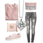 Stylizacja do szkoły różowa