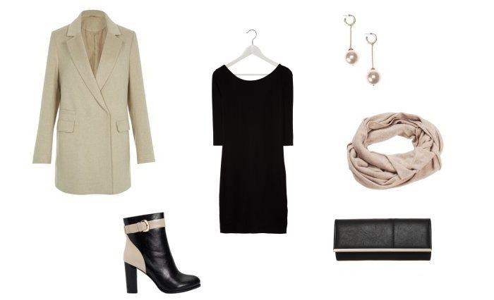 Stylizacja jesienna z czarną sukienką