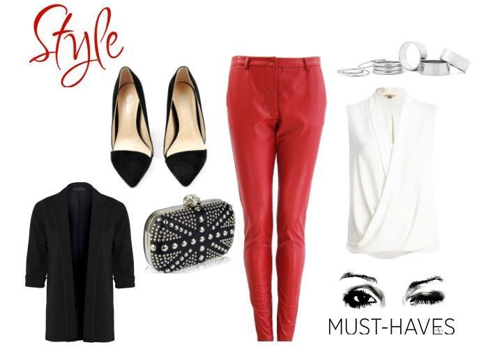 Stylizacja z czerwonymi spodniami skórzanymi