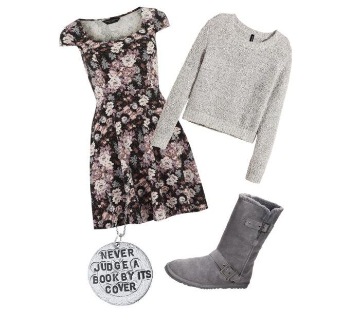 Stylizacja z sukienką na zimę
