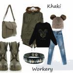 Stylizacja z workerami khaki